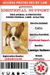 EmotionalSupport Dog Card ID Assistance Animal Badge ESA ADA