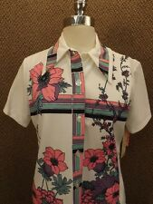 Vtg 60s NOS NEW Totally Cool Leisure Casual Floral Geometric Summer Shirt S Mod