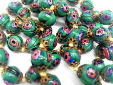 Murano Glass Bead Art Deco Necklace Matinee Length 24 Shades of Green and Pink