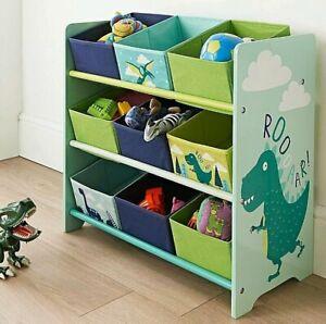Kids Dinosaur 9 Tub Storage Drawers Perfect Organiser Kid Clothes Crafts & Toys