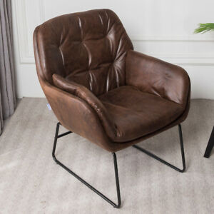 Retro Distressed Faux Leather Armchair Button Chair Single Lounge Sofa Fireside