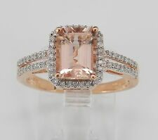 Emerald Cut Morganite and Diamond Halo Engagement Ring Rose Gold Size 6