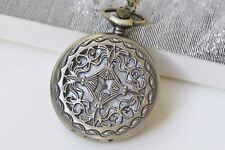Antique Bronze Filigree Chinese Coin Pocket Watch Necklace Set of 1 A261