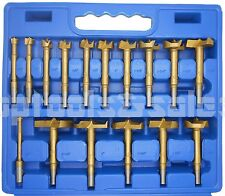 "16pc Titanium Forstner Bits Set Woodworking HoleSaw 3/8"" Shank w/ Case Clean Cut"