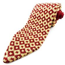 RED GREEN OF SCANDINAVIA Red Ivory Geometric Mens Knit Tie