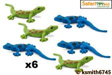 Nuevo Safari 6 X Mini día Gecko de plástico sólido Juguete Animal Rainforest Lagarto