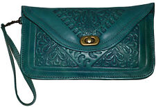 Leather Handbag Pouch Purse Moroccan Women  Makeup Clutch Wristlet Wallet Teal