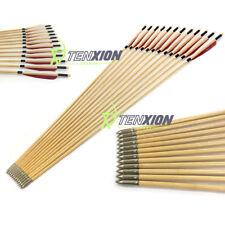 12 PCS Handmade Wooden Arrows Feather Vanes Fletch Archery Hunting Training