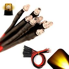 50 x LED Pre wired 12v 3mm Yellow Gold Flashing Blinking Strobe LEDs 12 volt 6v