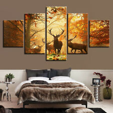 Forest Elk Deer Canvas Print Art Oil Painting Wall Picture Home Decor Unframed