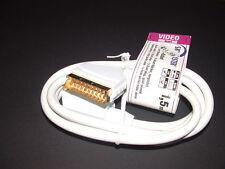 Weißes Scartkabel 21 Polig 1,5m vergoldet RGB S-VHS unbenutzt