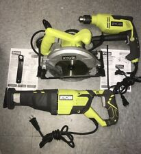 Ryobi Corded Electric Hammer Drill, Circular Saw, And Reciprocating Saw Combo