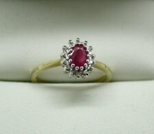 Beautiful 9 Carat Gold Ruby And Diamond Cluster Ring Size N.1/2