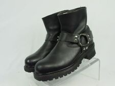DOUBLE H Women 8.5-M Black Leather Harness Motorcycle Riding Biker Boots