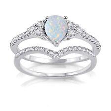 Petite огненный опал груша капля вырез обручальное свадьбы Cz шеврон серебряное кольцо комплект