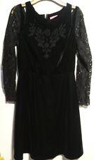 Monsoon Fusion Black Velvet Dress Uk 8 Embroidered Lace Sleeves