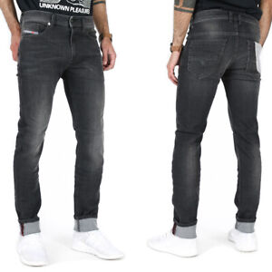 Diesel Herren Slim Skinny Fit Stretch Jeans Hose Schwarz Grau   Thommer 0687J