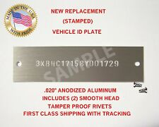 NEW (Stamped) DODGE PLYMOUTH CHRYSLER Vin Tag Data Plate Serial Number ID U.S.A.