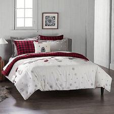 SEALED Cuddl Duds Polar Bears Heavyweight Flannel Comforter Set - Gray Red Plaid