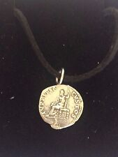 "Denarius Of Nero Pewter Coin WC21 Made From Pewter On 18"" Black Cord Necklace"