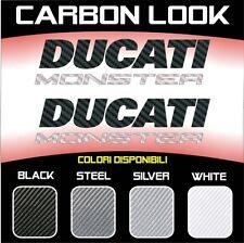 2 Adesivi Stickers Moto DUCATI MONSTER 3D Carbonio Bicolore