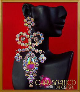 Large Diva  iridescent Swarovski crystal and rhinestone trim drop earrings