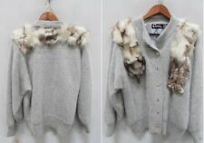 Cavalini REAL Lined FOX Fur COLLAR Venesha Like ANGORA Wool SWEATER CARDIGAN S M