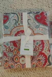 Pottery Barn Red Jordana Paisley Percale FULL QUEEN Duvet Cover Only Christmas
