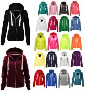 New Ladies Plain Zipped Hoodie Top UK Regular & Plus Sizes