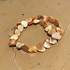 """Small Mother of Pearl Heart Beads, 16"""" Strand"""