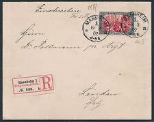 Dt. Reich 5 Mark Reichspost Einschreiben Mannheim 1900 Landau Attest (S14455)