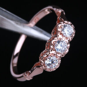Solid 10K Rose Gold 3-Stones 3mm Round CZ Engagement Wedding Classical Fine Ring