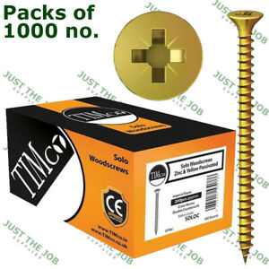 Packs of 1000 Timco SOLO YELLOW WOODSCREW POZI COUNTERSUNK SOLOC 3.5 4 4.5 5 6mm
