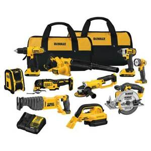 DeWALT DCK1020D2 20V 10 Tool 2 0Ah Lithium Ion Cordless Power Tool Combo Kit