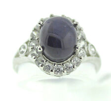 Blue Star Sapphire w 1.08 Ct. Zircon Sterling Silver Ring Size 7,