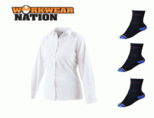 Dickies Ladies Long Sleeve Oxford Work Shirt,Embroidery Logo White FREE SOCKS