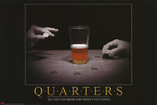 Lot Of 2 Posters : Quarters - All You Can Drink - Free Shipping ! Rw8 i