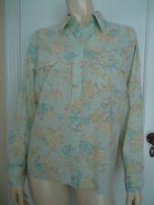 Eddie Bauer Blouse PL Cotton Floral Button Front Shirt Chest Pockets Light Blue