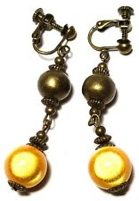 Long Yellow Bead Clip-On Earrings Antique Bronze Style Dangle Boho Hippy Clips
