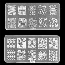 Nail Art Stamp Stencil Stamping Template Plate Set Tool Stamper Design Kit SK