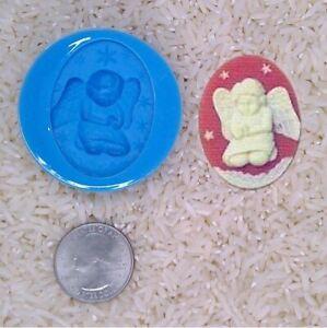 spiritual religious Praying Angel Cherub Food Safe Silicone Cameo Mold for candy