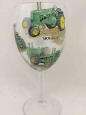 JOHN DEERE LARGE WINE GLASS WITH 6 DIFFERENT TRACTORS PRINTED ON