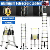 10.5/12.5/17FT Multipurpose Aluminum Ladder Fold Extend Telescopic Garden Tool