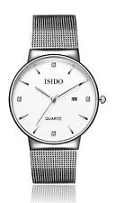 Men's Women's Silver Milanese Mesh Minimalist Wrist Watch Waterproof Quartz Date