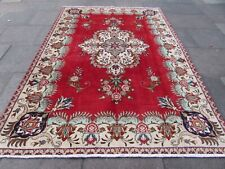 Vintage Worn Hand Made Traditional Oriental Wool Red Green Carpet 290x202m