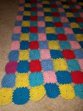 Vintage Granny Square Crochet Afghan Quilt Blanket Throw Black Multi Color 45x62