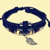 Faith Adjustable Handmade Cuff Leather Leaf Bracelet