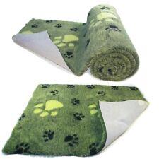 Lime Green  Large Black Paw  High Grade Vet Bedding Non-Slip back Bed Fleece for