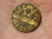 Royal Mint ERROR 1942 3d George VI Coin Groove Flan Die Strike  #K33