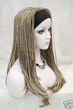 new honey ash blond mix 3/4 wig with headbands long synthetic handmade braid wig